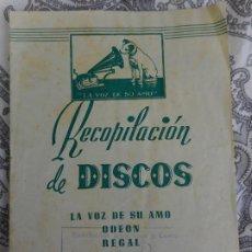 Catalogues de Musique: ANTIGUO CATALOGO.DISCOS.LA VOZ DE SU AMO.ODEON.REGAL. 1950. Lote 277649883