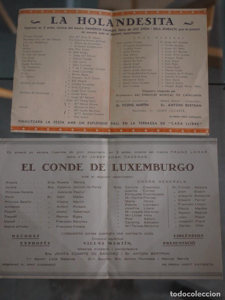 DIPTICO LA HOLANDESITA (INVITACIÓN CASA LLIBRE) + EL CONDE DE LUXEMBURGO (INVITACIÓN SALA ALBERDI) (Música - Catálogos de Música, Libros y Cancioneros)