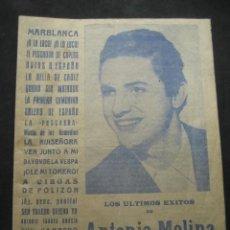 Catálogos de Música: CANCIONERO ANTONIO MOLINA. 100 CANCIONES POPULARES 1 PTA. AÑOS 50. ORIGINAL. Lote 284598568