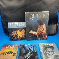 Catálogos de Música: LIBROS Y LIBRO CD Y LIBRO DVD QUEEN, ELVIS, THE BEATLES Y MIGUEL RÍOS. Lote 287117253