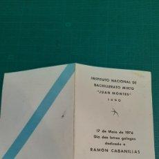 Catálogos de Música: HUGNO GALKEGO RAMÓN CABANILLAS INSTITUTO JUAN MONTES LUGO.1976 CELTA. Lote 287775423