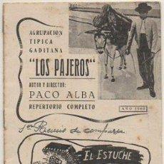 """Catálogos de Música: PACO ALBA. FIESTAS TIPICAS GADITANAS 1960. COMPARSA """"LOS PAJEROS"""". REPERTORIO COMPLETO A-C-2081. Lote 293877658"""