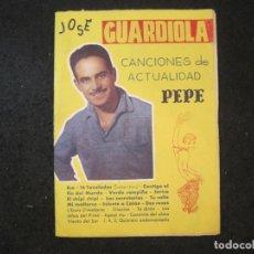 Catálogos de Música: JOSE GUARDIOLA-CANCIONERO-EDITORIAL ALAS-VER FOTOS-(K-4437). Lote 295506053