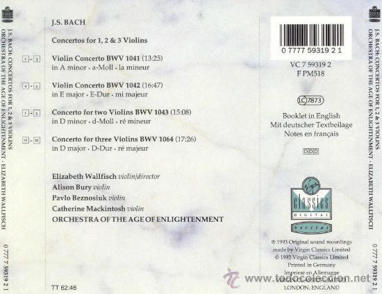 CDs de Música: CONCIERTOS PARA 1,2 Y 3 VIOLINES / JOHANN SEBASTIAN BACH - Foto 2 - 26324561