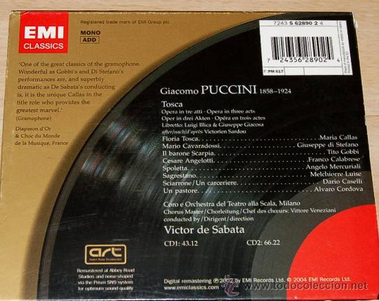 CDs de Música: TOSCA - PUCCINI - MARIA CALLAS - GIUSEPPE DI STEFANO - TITO GOBBI - VICTOR DE SABATA - NUEVO - OPERA - Foto 2 - 26873383