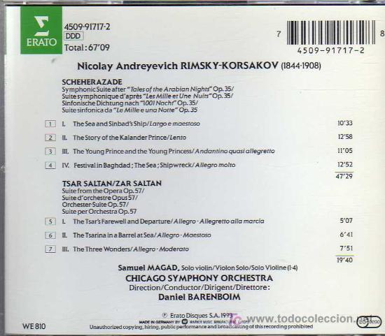 CDs de Música: CD - SCHEHERAZADE - TSAR SALTAN - RIMSKY KORSAKOV - Foto 2 - 20739192