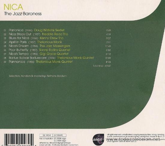 CDs de Música: NICA, THE JAZZ BARONESS - THELONIOUS MONK, THE JAZZ MESSENGERS, SONNY ROLLINS... - Foto 2 - 22883607