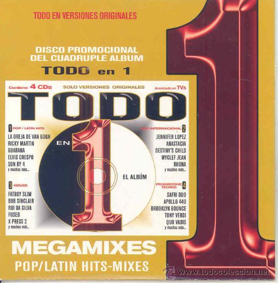 TODO EN 1 EL ALBUM, MEGAMIXES, POP/LATIN, HIT.MIXES - VARIOS - CDSAMPLER PROMOCIONAL 2002 (Música - CD's Latina)