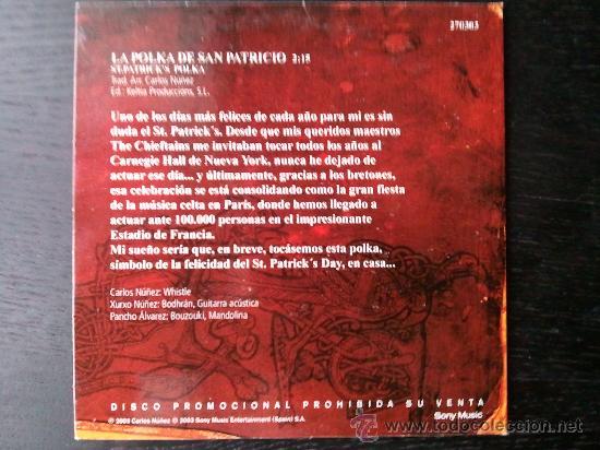 CDs de Música: CARLOS NUÑEZ - LA POLKA DE SAN PATRICIO - CD SINGLE - PROMO - SONY - 2003 - Foto 2 - 23287043