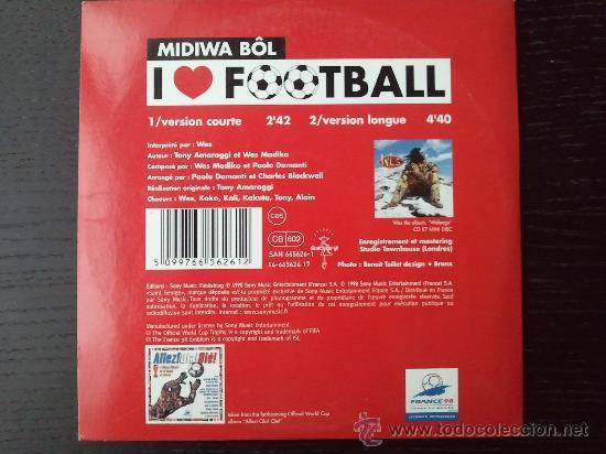 CDs de Música: WES - I LOVE FOOTBALL - CD SINGLE - PROMO - 2 TRACKS - SONY - 1998 - Foto 2 - 24416997