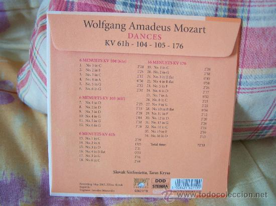 CDs de Música: MOZART Dances kv 61h-104-105-176 TARAS KRYSA - Foto 2 - 25952521