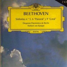 CDs de Música: DOBLE CD - LIBRO - BEETHOVEN SINFONIAS Nº 5 Y 6 PASTORAL Y 9 CORAL - VON KARAJAN. Lote 28156980