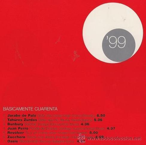 CDs de Música: BUNBURY, JUAN PERRO, REVÓLVER, JARABE DE PALO, TAHÚRES ZURDOS, OASIS, ZUCCHERO - 1999 - Foto 2 - 157009278