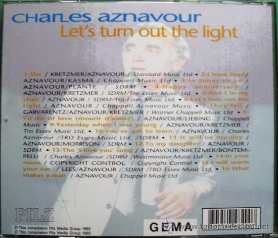 "CDs de Música: CD DE CHARLES AZNAVOUR CON 16 TEMAS CANTADOS EN INGLES ""LETS TURN OUT THE LIGHT"" - Foto 2 - 84978451"