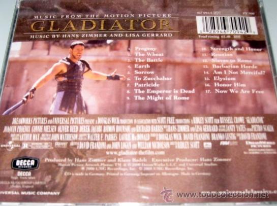BSO - GLADIATOR - HANS ZIMMER / LISA GERRARD - CD - UMG 200 GERMANY - COMO  NUEVO