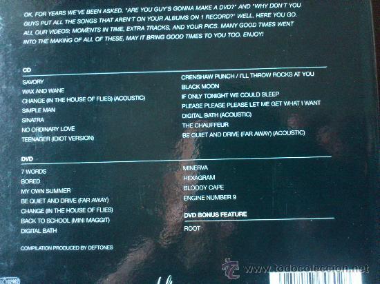 CDs de Música: DEFTONES - B- SIDES AND RARITIES - CD + DVD - EDICION ESPECIAL - MAVERICK - WARNER - 2005 - Foto 4 - 32408549