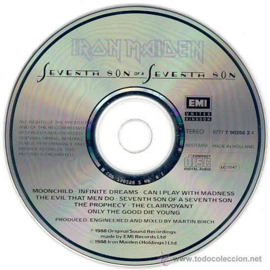 CDs de Música: IRON MAIDEN SEVENTH SON OF A SEVENTH SON CD ORIGINAL - Foto 3 - 32801218