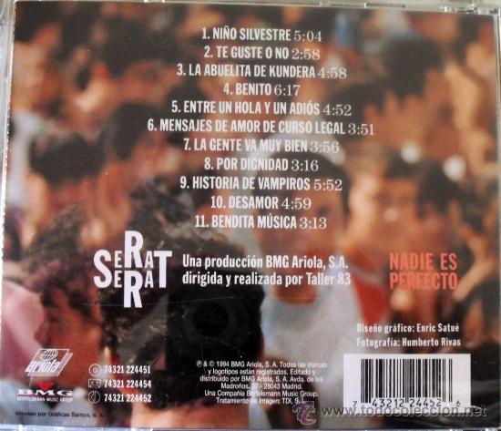 CDs de Música: CD DE JOAN MANUEL SERRAT, ALBUM NADIE ES PERFECTO 11 TEMAS - Foto 2 - 168318809