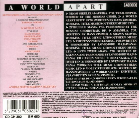 """a report on a world apart a 1988 movie by chris menges Sometimes people learn a hard life lesson about their world when they are young and innocent molly, a young white south african girl in """"a world apart(1988), learns it in a way far more hurtful than usual."""