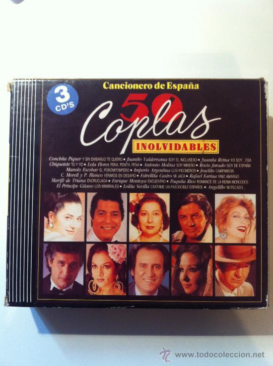3 CD 50 COPLAS INOLVIDABLES - CANCIONERO DE ESPAÑA (Música - CD's Flamenco, Canción española y Cuplé)