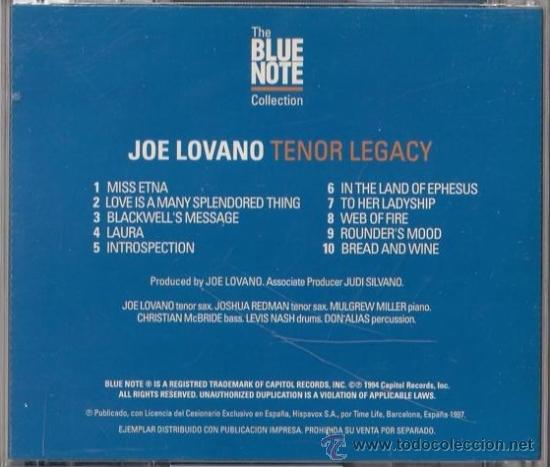 CDs de Música: Joe Lovano - Tenor Legacy - CD - Capitol 1997 The Blue Note Collection - Foto 2 - 36125891