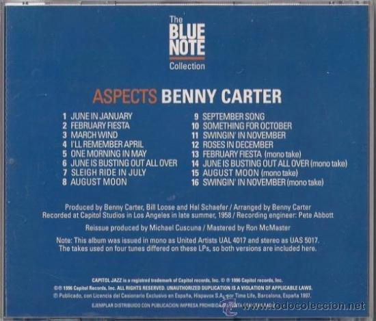CDs de Música: Benny Carter - Aspects - CD Capitol 1997 The Blue Note Collection - Foto 2 - 36273657