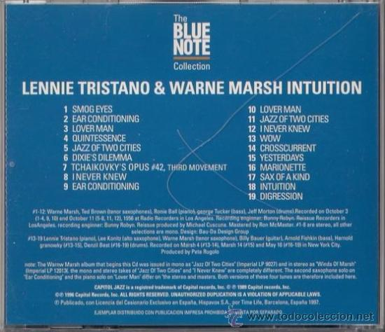CDs de Música: Lennie Tristano and Warne Marsh - Intuition! - CD 1997 The Blue Note Collection - Foto 2 - 36400759