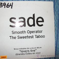 CDs de Música: PROMO CD SINGLE - SADE - SMOOTH OPERATOR / THE SWEETEST TABOO. Lote 37967352