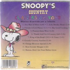 CDs de Música: CD - SNOOPY'S - COUNTRY - CLASSIKS ON TOYS - MUSICA DIVERTIDA PER A INFANTS. Lote 38372542