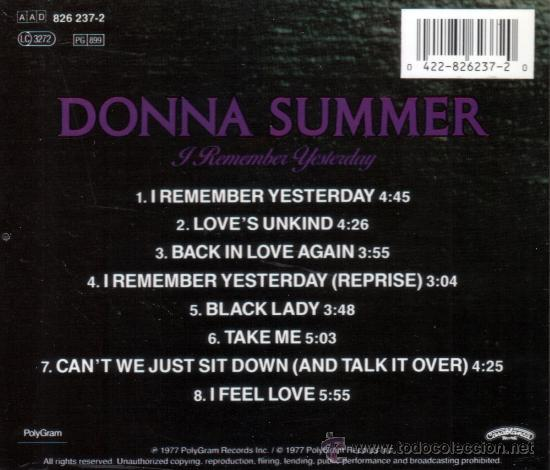 CDs de Música: DONNA SUMMER - I REMEMBER YESTERDAY - CD - Foto 2 - 38881479