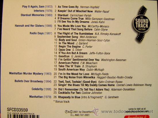 CDs de Música: WOODY ALLEN - ORIGINAL SOUNDTRACK MORE MOVIE MUSIC -DISCONFORME EDICION ANDORRA- 2002 - DOS CD ... - Foto 2 - 39028295