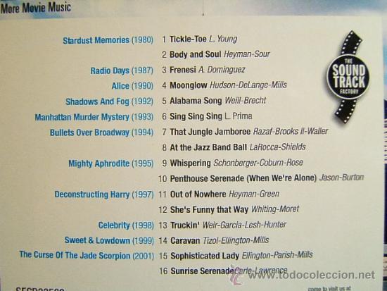 CDs de Música: WOODY ALLEN - ORIGINAL SOUNDTRACK MORE MOVIE MUSIC -DISCONFORME EDICION ANDORRA- 2002 - DOS CD ... - Foto 3 - 39028295
