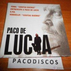 CDs de Música: PACO DE LUCIA COSITAS BUENAS CD SINGLE PROMO 1 TEMA + ENTREVISTA + PISTA INTERACTIVA + VIDEOCLIP EPK. Lote 42671564