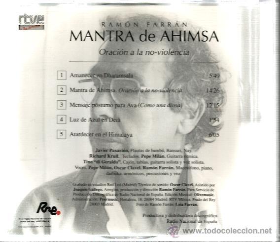 CDs de Música: CD RAMON FARRAN : MANTRA DE AHIMSA ( ORACION A LA NO VIOLENCIA ) - Foto 2 - 44913918