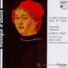 CDs de Música: CODEX FAENZA - MARCEL PERES, ENSEMBLE ORGANUM (AUDIO CD, HARMONIA MUNDI). Lote 45225793