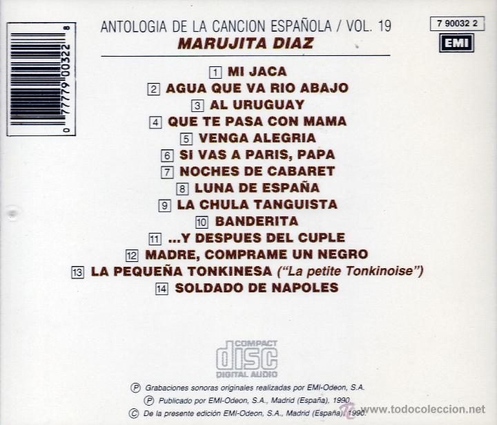 CDs de Música: MARUJITA DIAZ - ANTOLOGIA DE LA CANCION ESPAÑOLA, VOL. 19 - CD - Foto 2 - 45621021