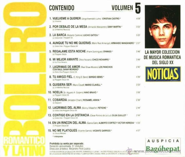 CDs de Música: CD de artistas varios Bolero romántico y latino volumen 5 año 2000 - Foto 2 - 47561814