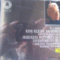 CDs de Música: MOZART EINE KLEINE NACHTMUSIK PETITE MUSIQUE DE NUIT KV 239 KV 287 VON KARAJAN (VER FOTOS DETALLE). Lote 48016994