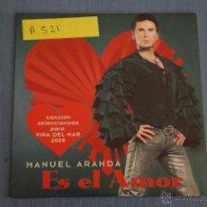 CDs de Música: CD PROMOCIONAL CARTÓN DE MÚSICA DE,MANUEL ARANDA:ES EL AMOR,NºA521. Lote 48428385