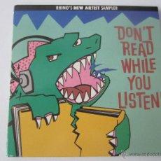 CDs de Música: RHINO'S NEW ARTIST SAMPLER - DON'T READ WHILE YOU LISTEN! 1988 USA CD. Lote 48552698