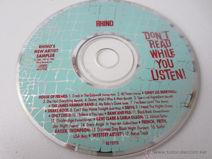 CDs de Música: RHINOS NEW ARTIST SAMPLER - DONT READ WHILE YOU LISTEN! 1988 USA CD - Foto 4 - 48552698