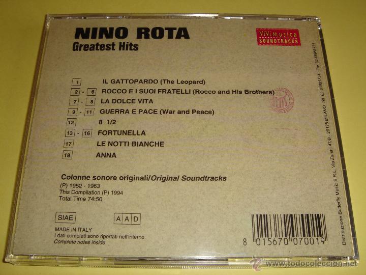CDs de Música: NINO ROTA - GREATEST HITS - SELECCIÓN DE BANDA SONORA DE NINO ROTA - ORIGINAL SOUNDTRACK - BSO - CD - Foto 2 - 48594229