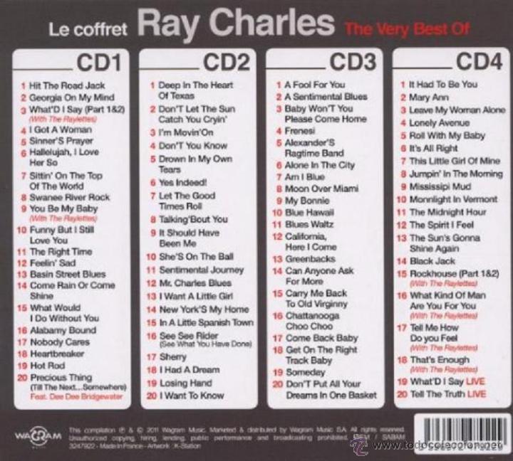 CDs de Música: RAY CHARLES * BOX 4CD * The Very Best Of Ray Charles * Ltd Digipack * Precintado * 80 Pistas - Foto 6 - 97094368