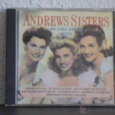 CDs de Música: ANDREWS SISTERS CD 20 GREATEST HITS. Lote 111892755