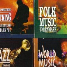 CDs de Música: MUSIC FROM DENMARK- CD 1 FOLK FROM DENMARK + CD 2 ROCKING FROM DENMARK + CD 3 WORLD MUSIC + CD 4 JAZ. Lote 49408906