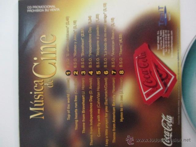 CDs de Música: MUSICA DE CINE, CD PROMOCIONAL DE COCA COLA,OCHO CANCIONES - Foto 2 - 50152993