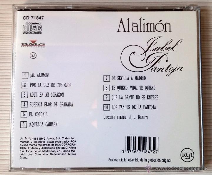 CDs de Música: ISABEL PANTOJA(AL ALIMÓN)CD MUY RARO - Foto 2 - 51426709