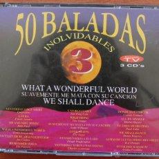 CDs de Música: 50 BALADAS INOLVIDABLES: 3 CD´S – COMPLETO – RECOPILACION MEJORES CANCIONES ROMANTICAS Y MELODICAS. Lote 51536242