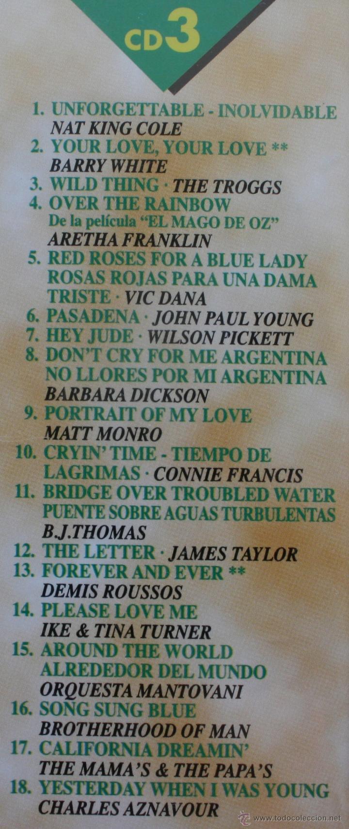 CDs de Música: 50 BALADAS INOLVIDABLES: 3 CD´S – COMPLETO – RECOPILACION MEJORES CANCIONES ROMANTICAS Y MELODICAS - Foto 6 - 51536242
