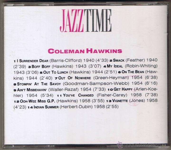 CDs de Música: JAZZ TIME - COLEMAN HAWKINS - Foto 2 - 51584977